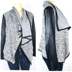 Knit Open Cardigan Sz M Vegan leather Sleeves